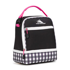 High Sierra Lunch Packs Stacked Compartment in the color Black/Gingham/Flamingo/White.