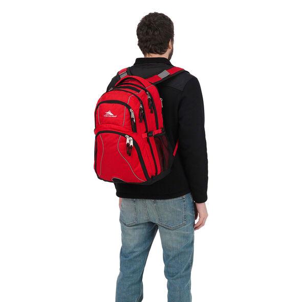 High Sierra Swerve Backpack in the color Crimson/Black.