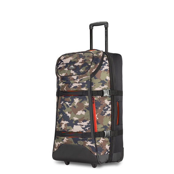 """High Sierra AT Lit 32"""" Duffel Upright in the color Black/Whamo Camo."""