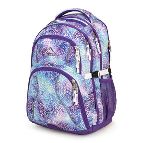 High Sierra Swerve Backpack in the color Flower Daze/Deep Purple/White.