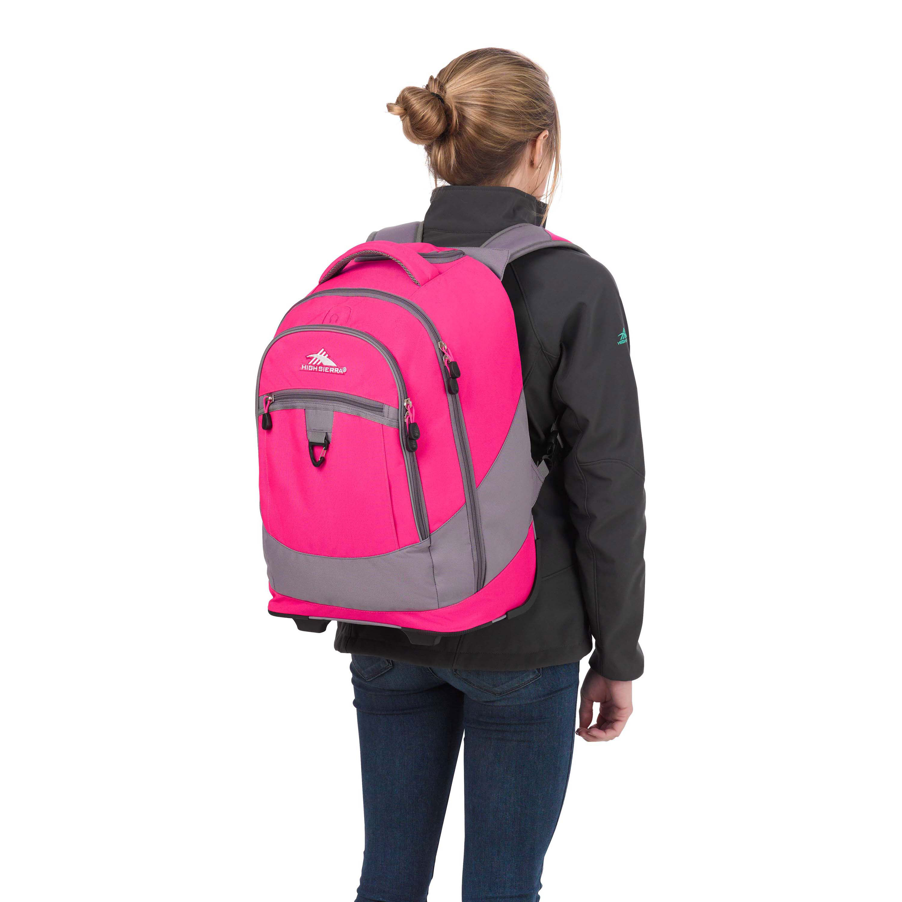 high sierra chaser wheeled backpack in the color flamingo pink