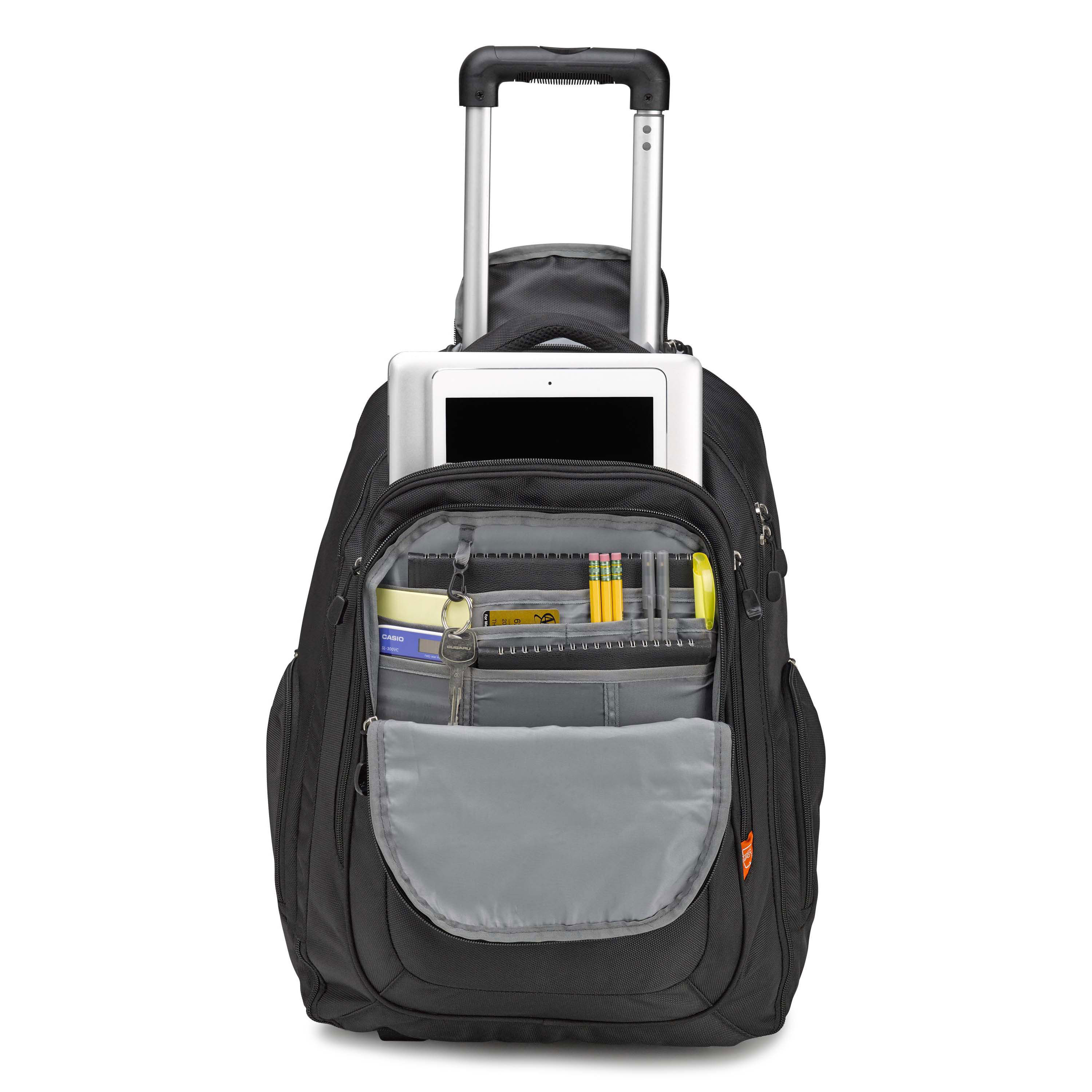 high sierra rev wheeled backpack in the color black