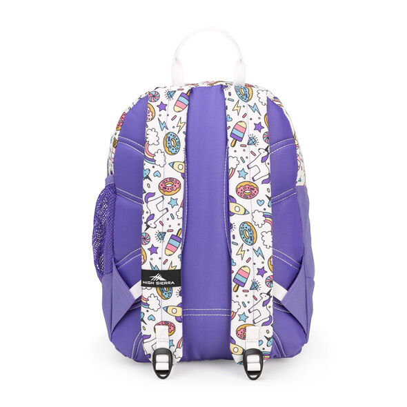 High Sierra Mini Fat Boy Backpack in the color Sweet Cakes/ Lavender/White.