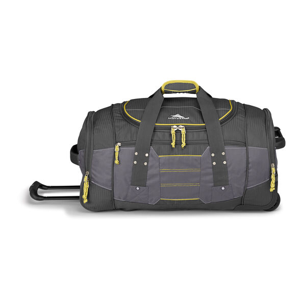 """High Sierra Ultimate Access 2.0 26"""" Wheeled Duffel in the color Mercury/Charcoal/Yell-O."""