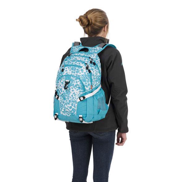 High Sierra Loop Backpack in the color Tropic Leopard/Tropic Teal/White.