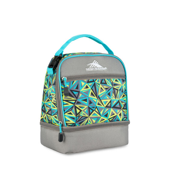 High Sierra Lunch Packs Stacked Compartment in the color Electric Geo/Charcoal/Tropic Teal.