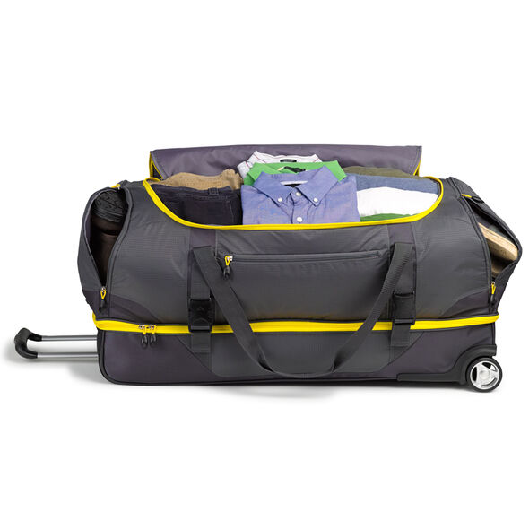 "High Sierra Sportour 34"" Drop-Bottom Wheeled Duffel in the color Grey/Mercury/Black."