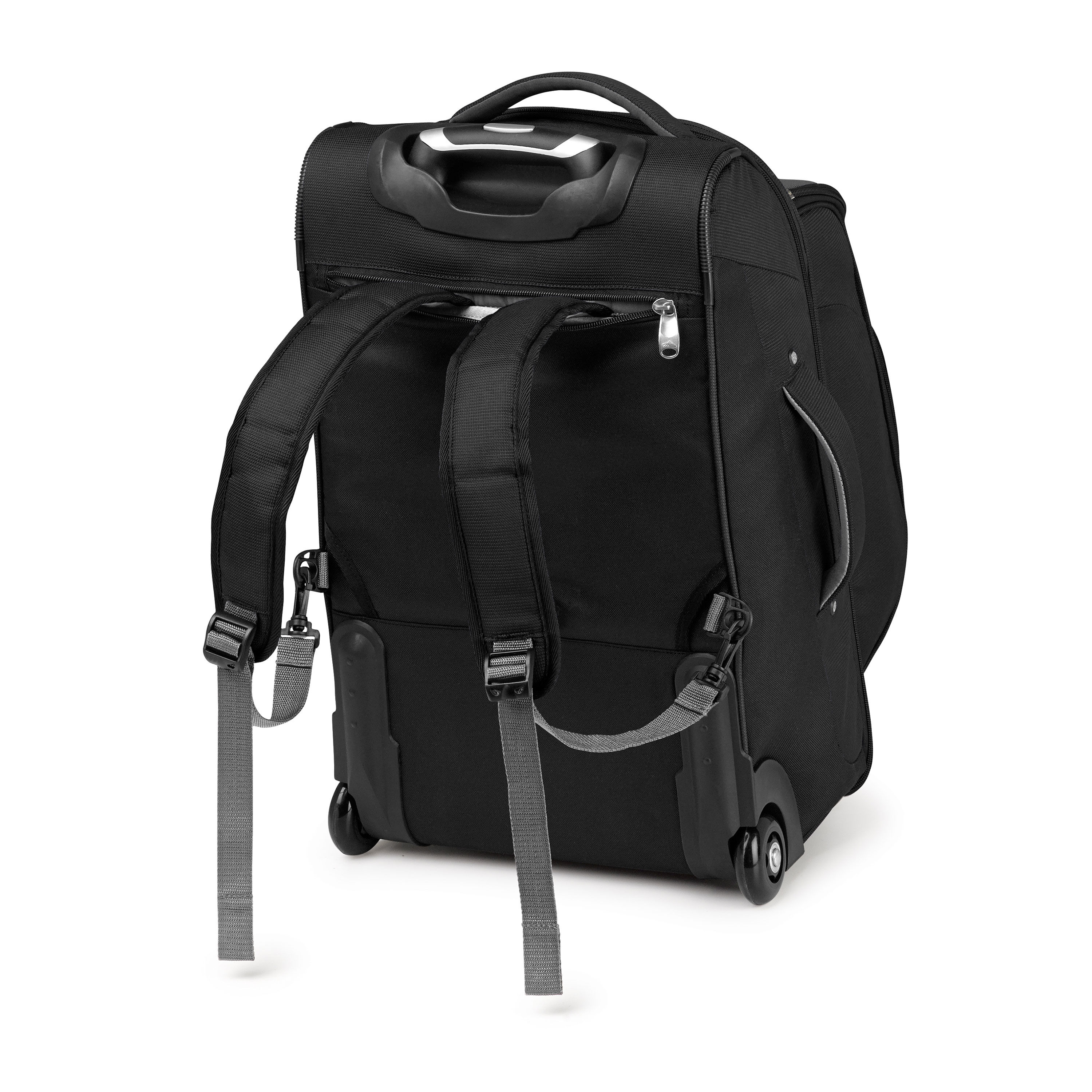 high sierra adventure access carryon wheeled backpack with removable daypack in the color black