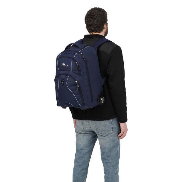 High Sierra Freewheel Wheeled Backpack in the color True Navy.