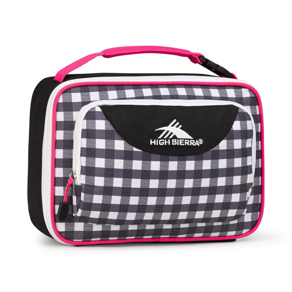 High Sierra Lunch Packs Single Compartment in the color Gingham/Black/Flamingo/White.