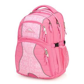 High Sierra Swerve Backpack in the color Pink Lemonade/Block Print.