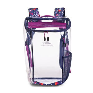 Clear Toploader Backpack in the color Triangle Party.