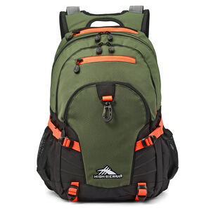 Loop Backpack in the color Forest Green/Electric Orange.
