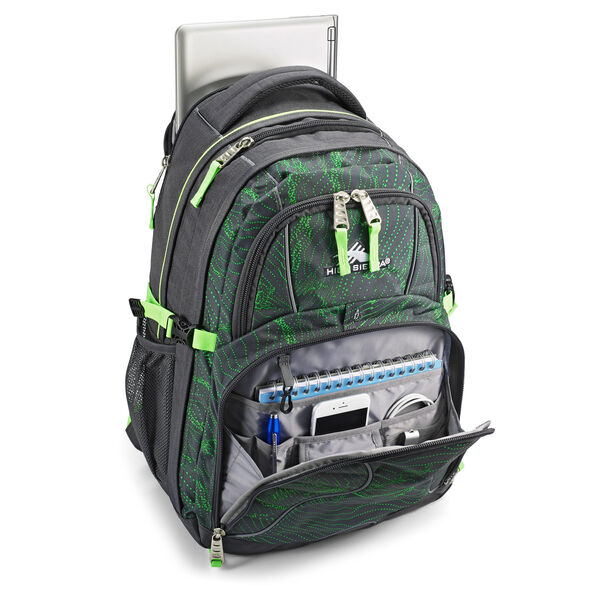 High Sierra Swerve Backpack in the color Light Wave/Mercury/Lime.