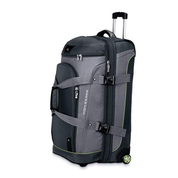 """High Sierra AT3 32"""" Drop Bottom Wheeled Duffel in the color Graphite/Titanium/Spring."""