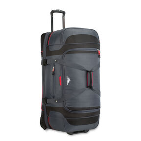 "High Sierra Cermak 32"" Wheeled Drop-Bottom Duffel in the color Mercury/Black/Crimson."