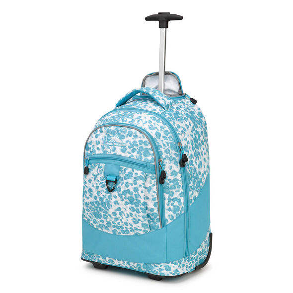 High Sierra Chaser Wheeled Backpack in the color Tropic Leopard/Tropic Teal.