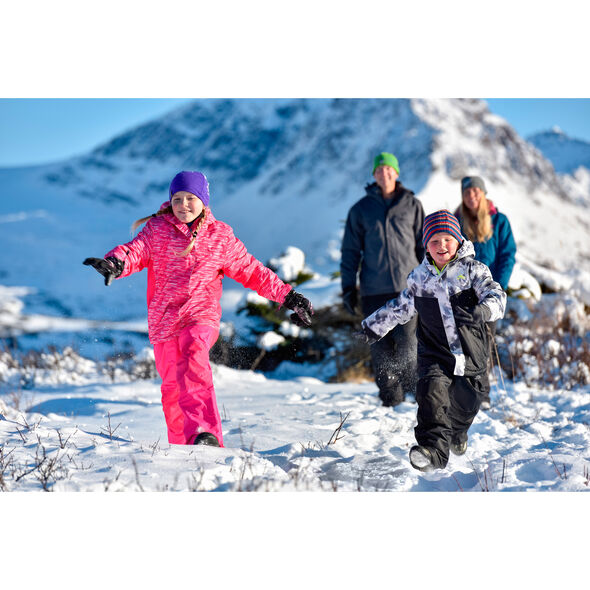 High Sierra Girl's Frankie Insulated Printed Jacket in the color Pink Stroke/Fuschia.