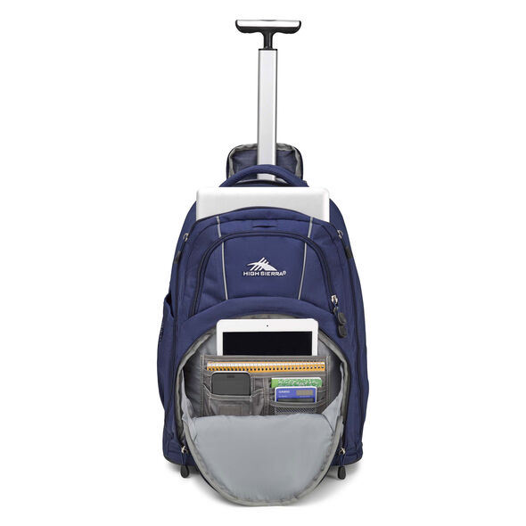 High Sierra Freewheel Wheeled Backpack in the color True Navy.