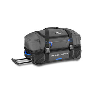 "Decatur 22"" Drop-Bottom Wheeled Duffel in the color Mercury/Vivid Blue."