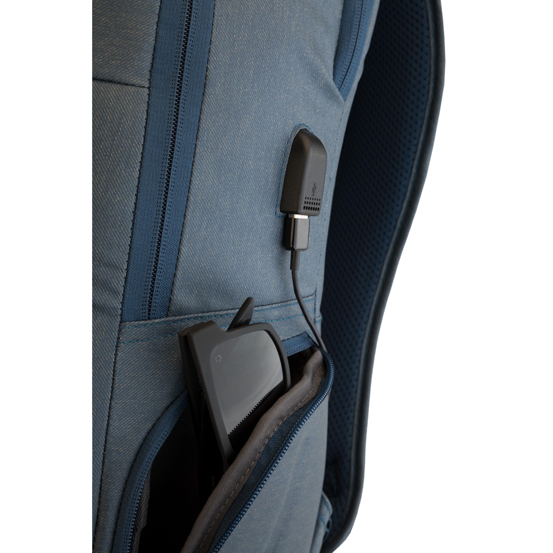 High Sierra Business Proslim USB Pack Slim Business Backpack for Men or Women Rustic Blue Heather//Chili Pepper Ideal for Travel