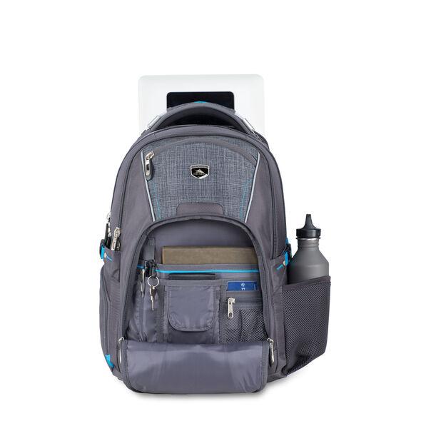 High Sierra Vuna TSA Business Backpack in the color Mercury/Burlap/Pool.