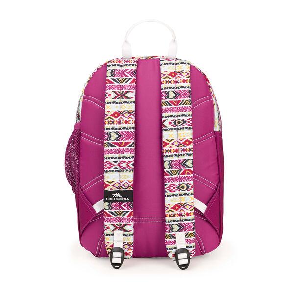 High Sierra Mini Fat Boy Backpack in the color Macrame/Razzmatazz/White.