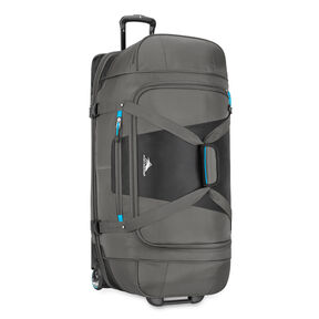 "High Sierra Selway 34"" Drop-Bottom Wheeled Duffel in the color Mercury/Black/Pool."