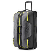 "High Sierra Dells Canyon 34"" Wheeled Duffel in the color Mercury/Black/Glow."
