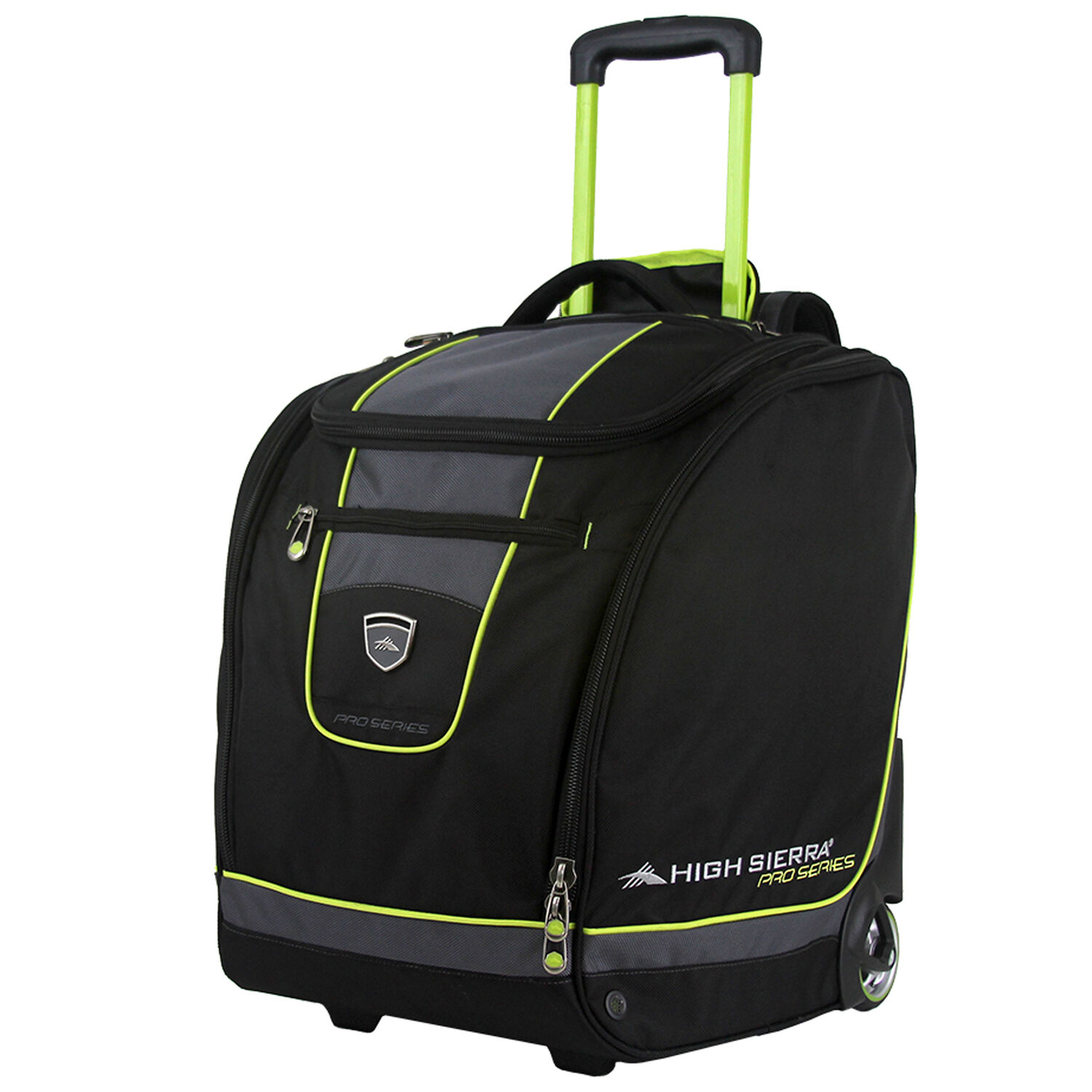 c178e8149f00e High Sierra Wheeled Trapezoid Boot Bag in the color Black /Charcoal/Chartreuse.