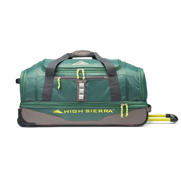 """High Sierra Pathway 28"""" Wheeled Drop-Bottom Duffel in the color Pine/Slate/Chartreuse."""