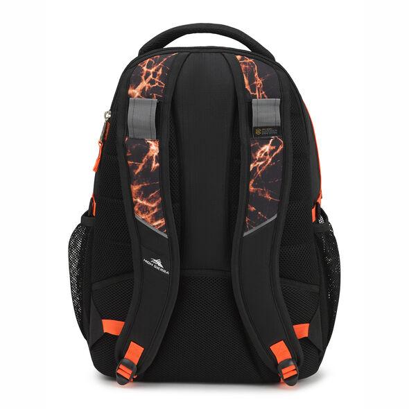 High Sierra Swerve Backpack in the color Black/Fireball/Electric Orange.
