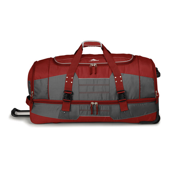 "High Sierra Ultimate Access 2.0 36"" Drop-Bottom Wheeled Duffel in the color Brick Red/Mercury/Silver."
