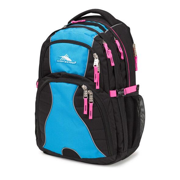 High Sierra Swerve Backpack in the color Black/Pool/Flamingo.