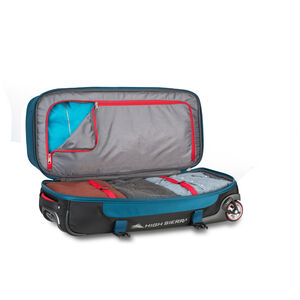 "Selway 28"" Drop-Bottom Wheeled Duffel in the color Peacock/Black/Crimson."