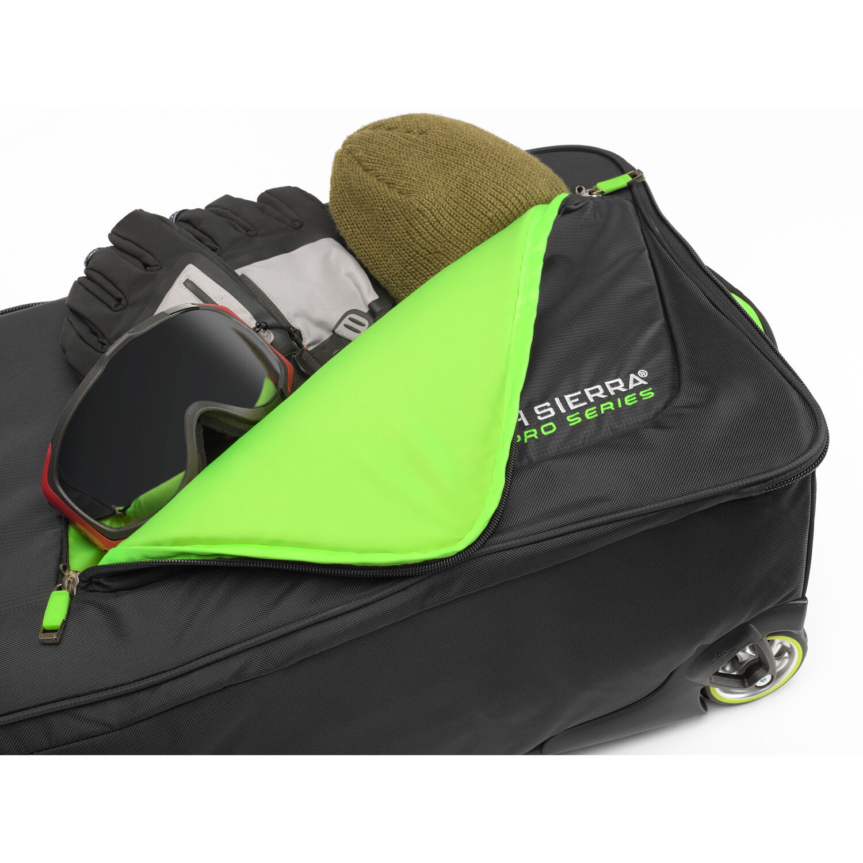 55c35902f771 High Sierra Adjustable Wheeled Ski Snowboard Bag in the color Black Zest.