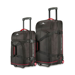 High Sierra 2PC Wheeled Upright Duffel Set in the color Black/Crimson Red.