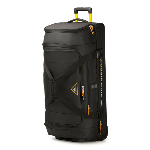 """High Sierra Pathway 36"""" Wheeled Drop-Bottom Duffel in the color Black/Gold."""