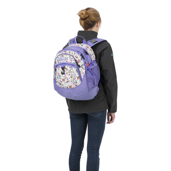 High Sierra Fatboy Backpack in the color Sweet Cakes/ Lavender/White.