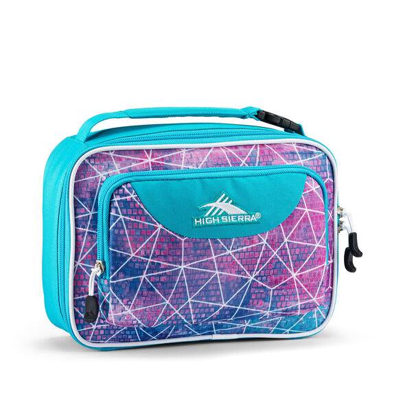 High Sierra Single Compartment Lunch Bag in the color Sequin Facet/Bluebird/White.