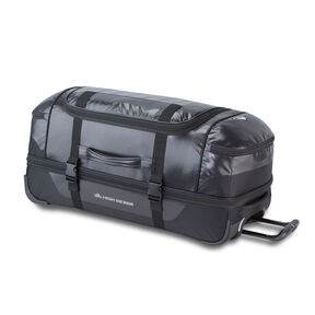 "High Sierra Kennesaw 30"" Drop-Bottom Wheeled Duffel in the color Black/Black/Black."