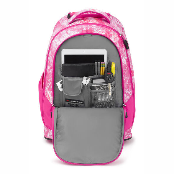 High Sierra Chaser Wheeled Backpack in the color Effervescent/Flamingo.