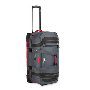 "High Sierra Cermak 26"" Wheeled Drop-Bottom Duffel in the color Mercury/Black/Crimson."