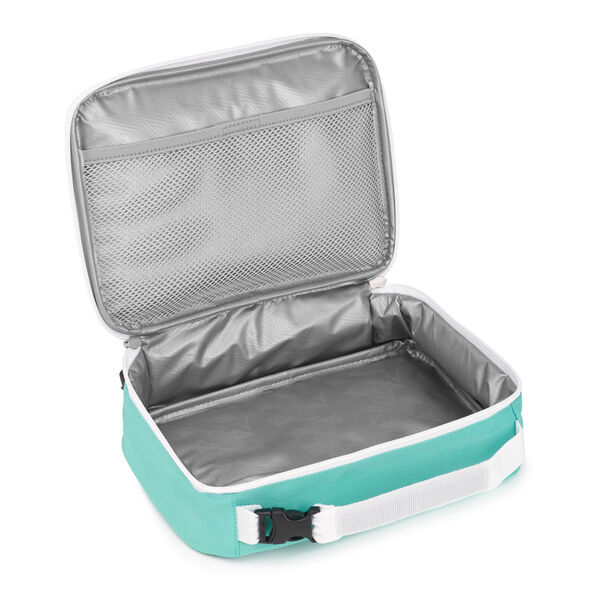 High Sierra Single Compartment Lunch Bag in the color Aquamarine/White.