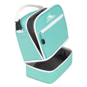 Stacked Compartment Lunch Bag in the color Aquamarine/White.