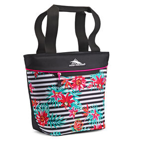 High Sierra Lunch Tote in the color Tropical Stripe/Black/Flamingo.