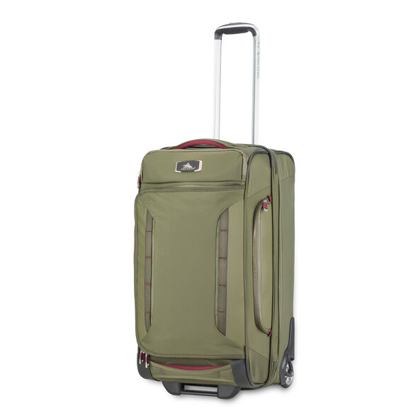 """High Sierra AT8 26"""" Wheeled Duffel Upright in the color Olive/Cranberry."""