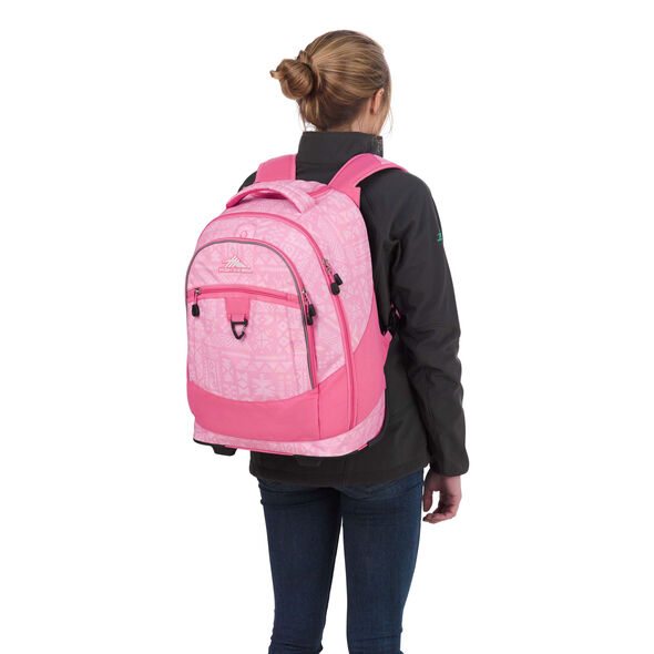High Sierra Chaser Wheeled Backpack in the color Block Print/ Pink Lemonade.