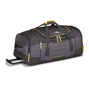 "High Sierra Ultimate Access 2.0 30"" Wheeled Duffel in the color Mercury/Charcoal/Yell-O."