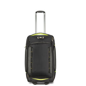 "AT8 26"" Wheeled Duffel Upright in the color Black Zest."